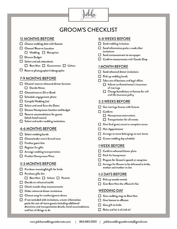Groomu0027s Checklist Jubilee Weddings and Events Iu0027m getting - wedding planner template