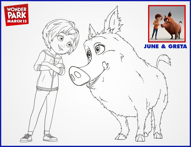 June Greta Are Ready For Adventure Wonderpark Coloring Pages