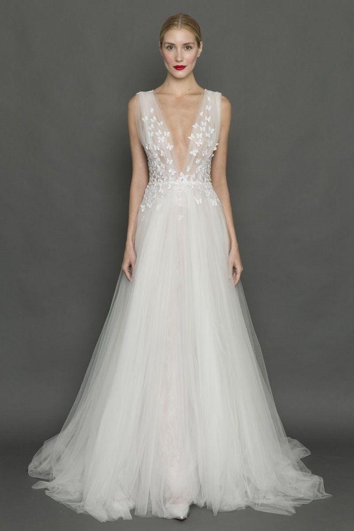 Francesca Miranda plunging neckline tulle 3d butterfly wedding dress | itakeyou.co.uk #weddingdress #weddingdresses #tulle #bride #bridalgown #weddinggown #weddinggowns