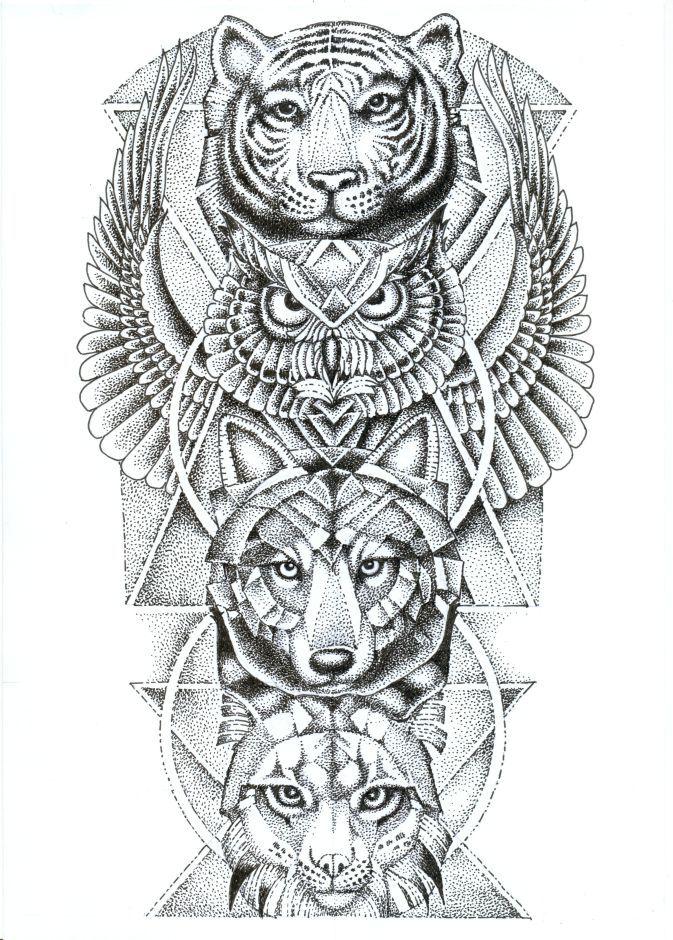 Spirit Animal Totem Pole // Tiger + Owl + Wolf + Lynx