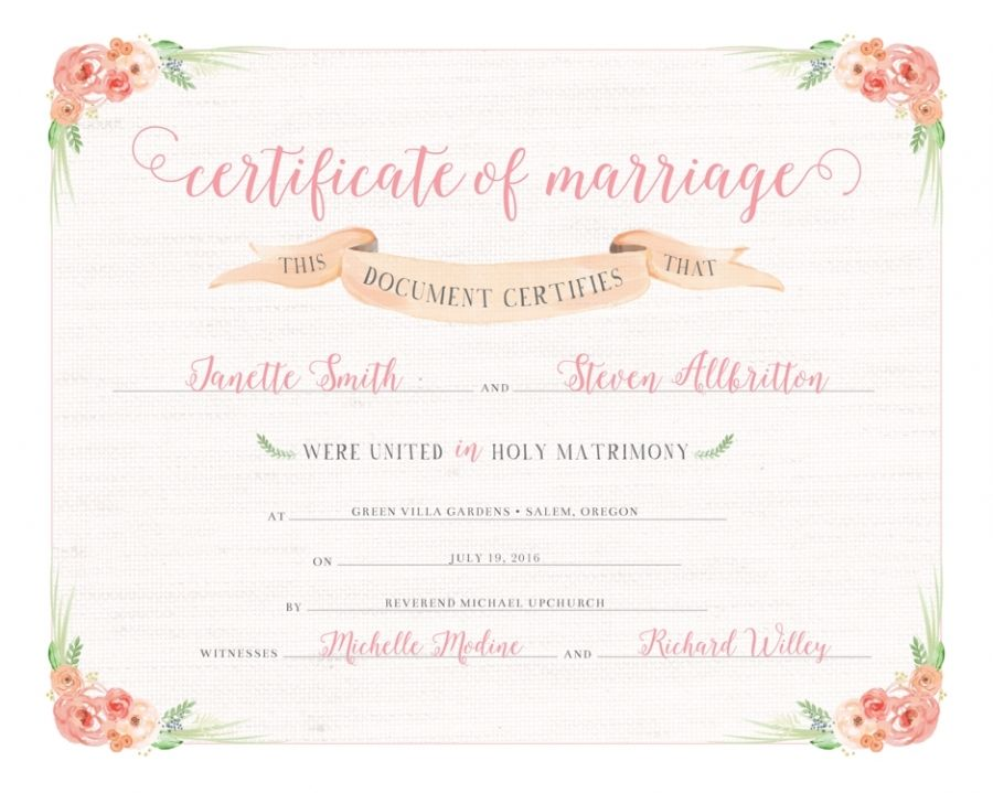 Keepsake Wedding Certificate Printable Marriage Certificate 810