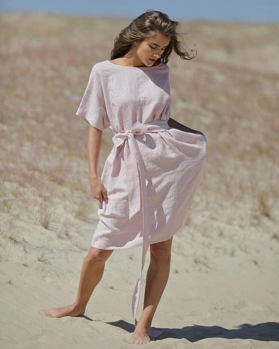 c1b5532d5e2 Linen dress. Loose fit dress. Pink dress. Knee length summer dress ...