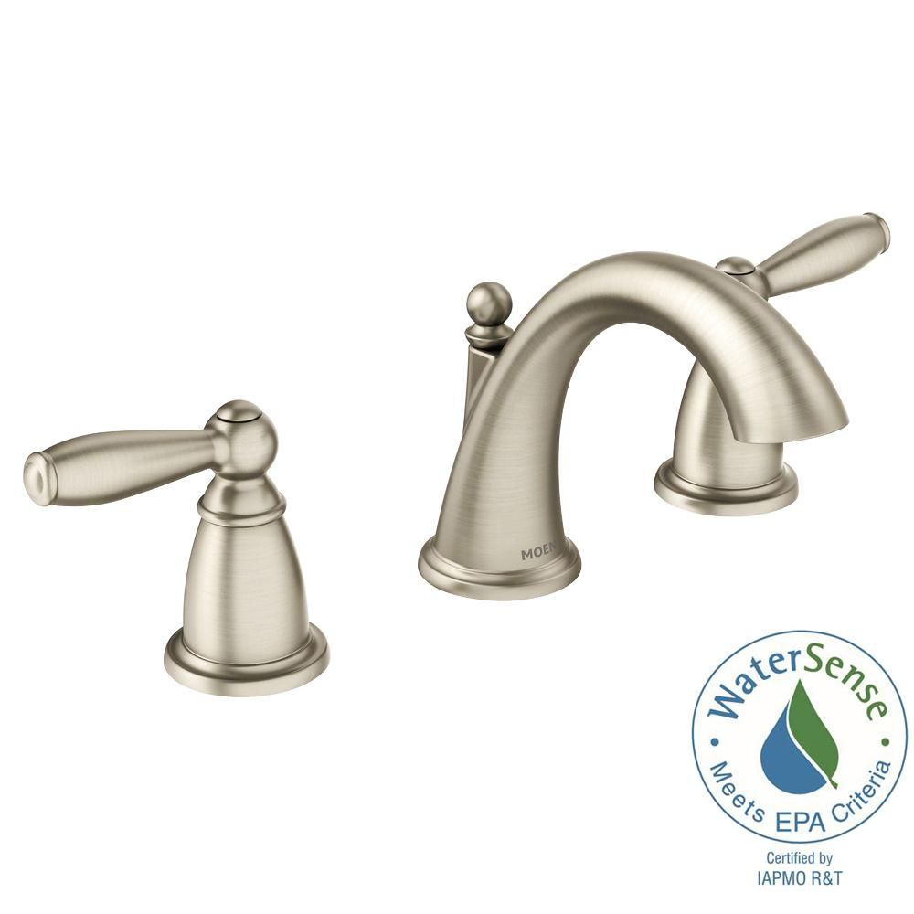 MOEN Brantford 8 in. Widespread 2-Handle High-Arc Bathroom Faucet ...