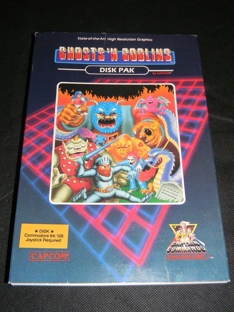 COMMODORE 64 128 GHOSTS N GOBLINS CIB BOX MANUAL GAME ' RARE NES