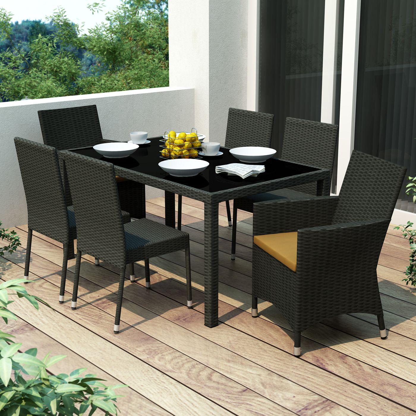 Outdoor Dining Set 7 Pieces Charcoal Elegant Diy Garden