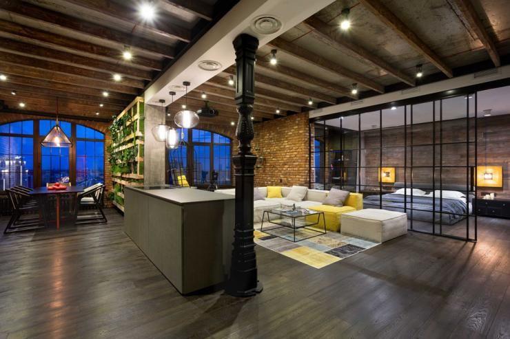 une ambiance resolument masculine et design interieur brut pour ce loft industriel