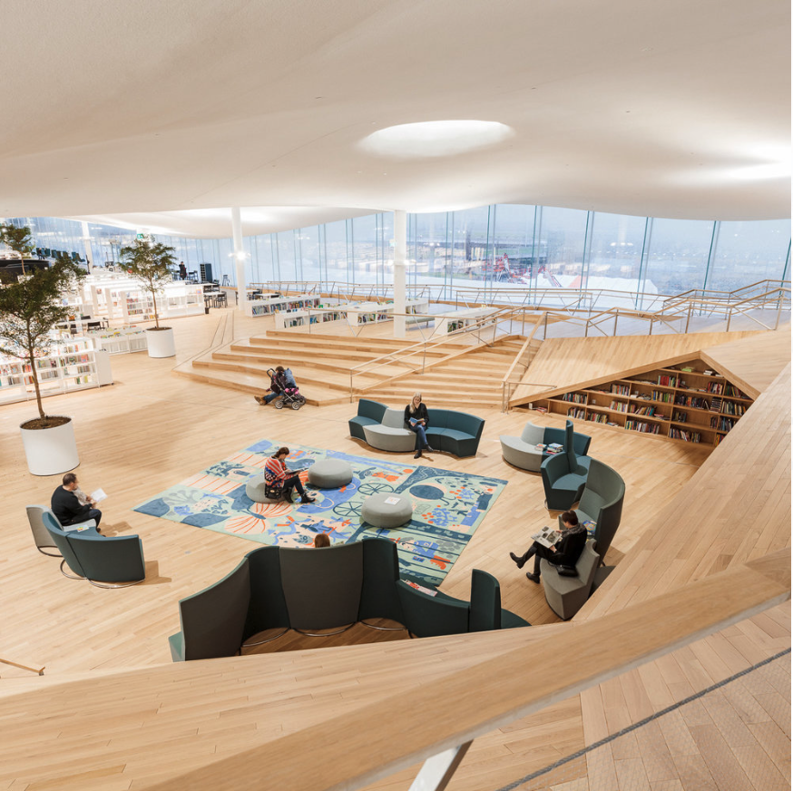 CARPETS AS STORYTELLERS FLOORWEAR ARTWORKS IN HELSINKI'S NEW LIBRARY is part of Library architecture - The Oodi Library offers exhibitions, workshops, photo studios, coworking spaces and a cinema  Huge carpet artworks portray Finnish writers and fairy tales