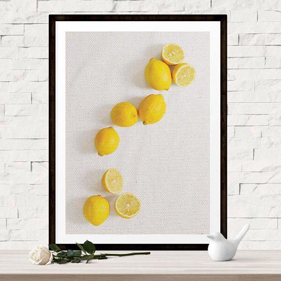 Lemon Wall Art Print Lemon Kitchen Decor Yellow Wall Art