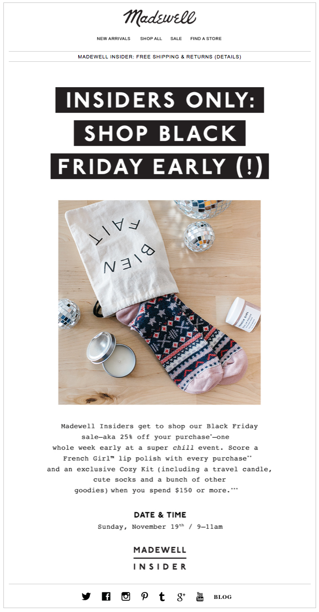 Madewell Insiders Black Friday Email Shop Black Friday Early In Stores Black Friday Email Black Friday Shopping Madewell