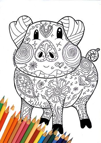 Coloring page, pig coloring page, coloring pig farm, coloring page ...