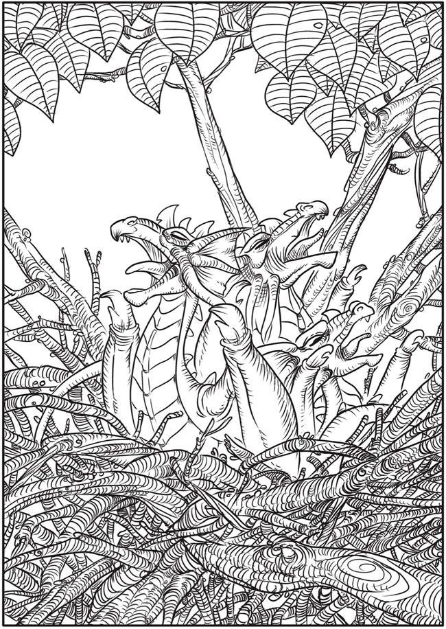 Creative Haven Winged Fantasy Designs Coloring Book Dragon PatternDover PublicationsColoring