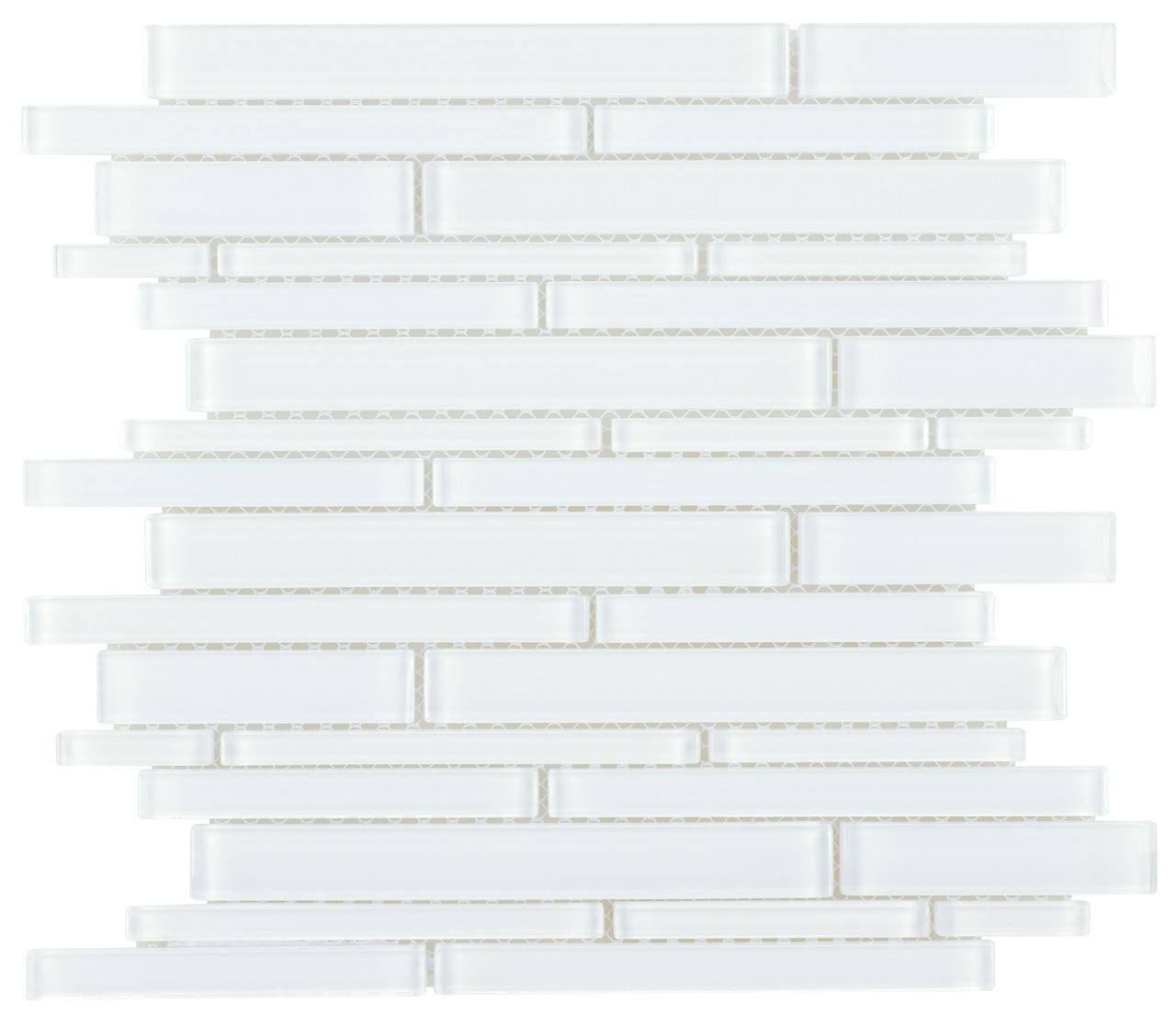 Glass Mosaic Tile Strip Extra White | Mineral Tiles
