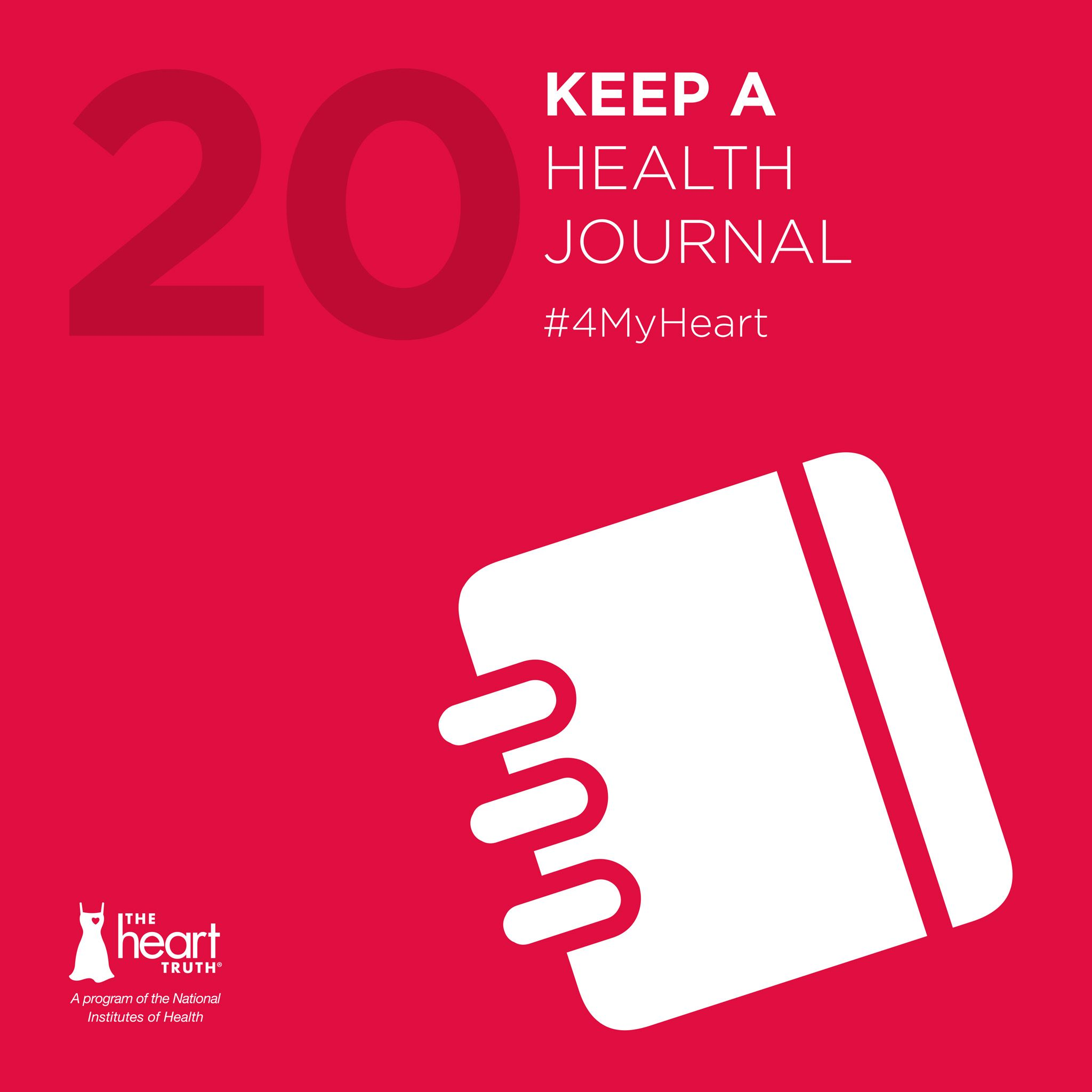 4myheart day 20 start a food and physical activity journal to help