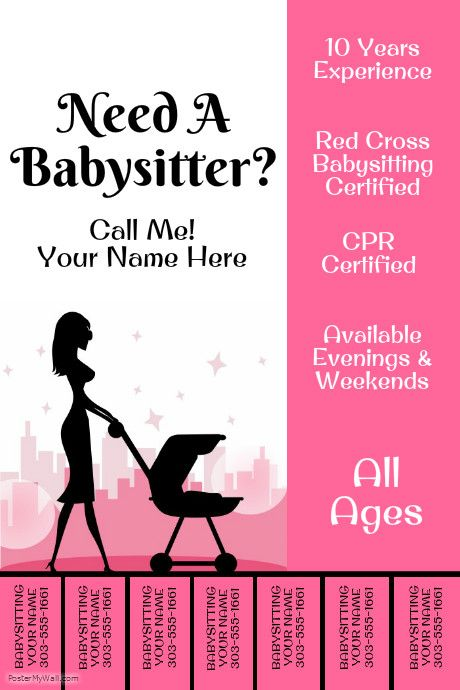 Create amazing flyers for your babysitting business by for Babysitting poster template
