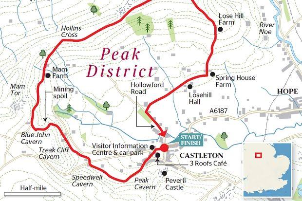 Map Of England Derbyshire.Times Walks Castleton And Lose Hill Peak District Derbyshire