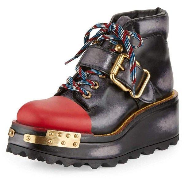 Prada Buckle Leather 60mm Hiking Boot