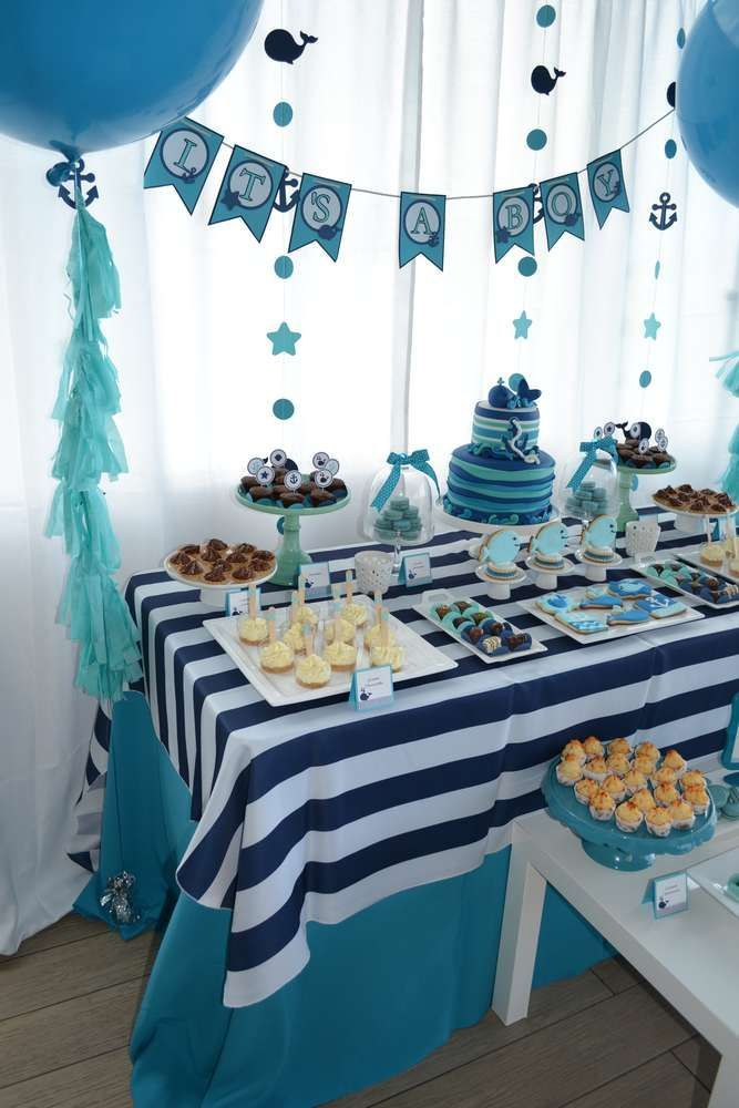 Whales Baby Shower Party Ideas  Photo 9 of 97  Decoracion baby
