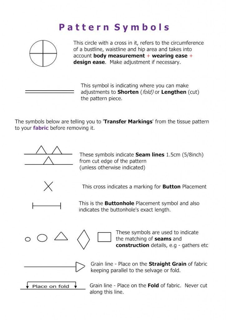 Sewing Pattern Symbols Worksheets Sewing Pattern Symbols