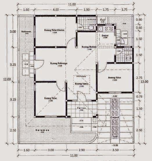 denah  rumah  sederhana 1  lantai  3  kamar  tidur Proyek
