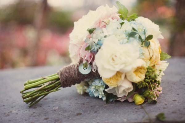 The Bouquet Hints Of White Pink Yellow Purples And Green Wedding Flower BouquetsRustic