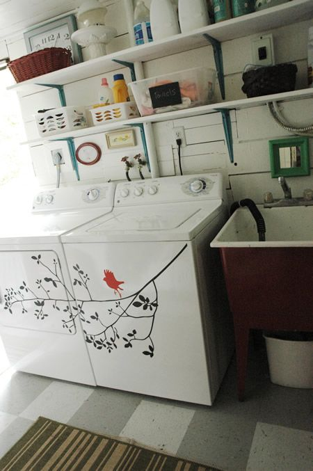 Wonderful idea for the blank space on your washer & dryer. I think laundry rooms should be a joyful place!