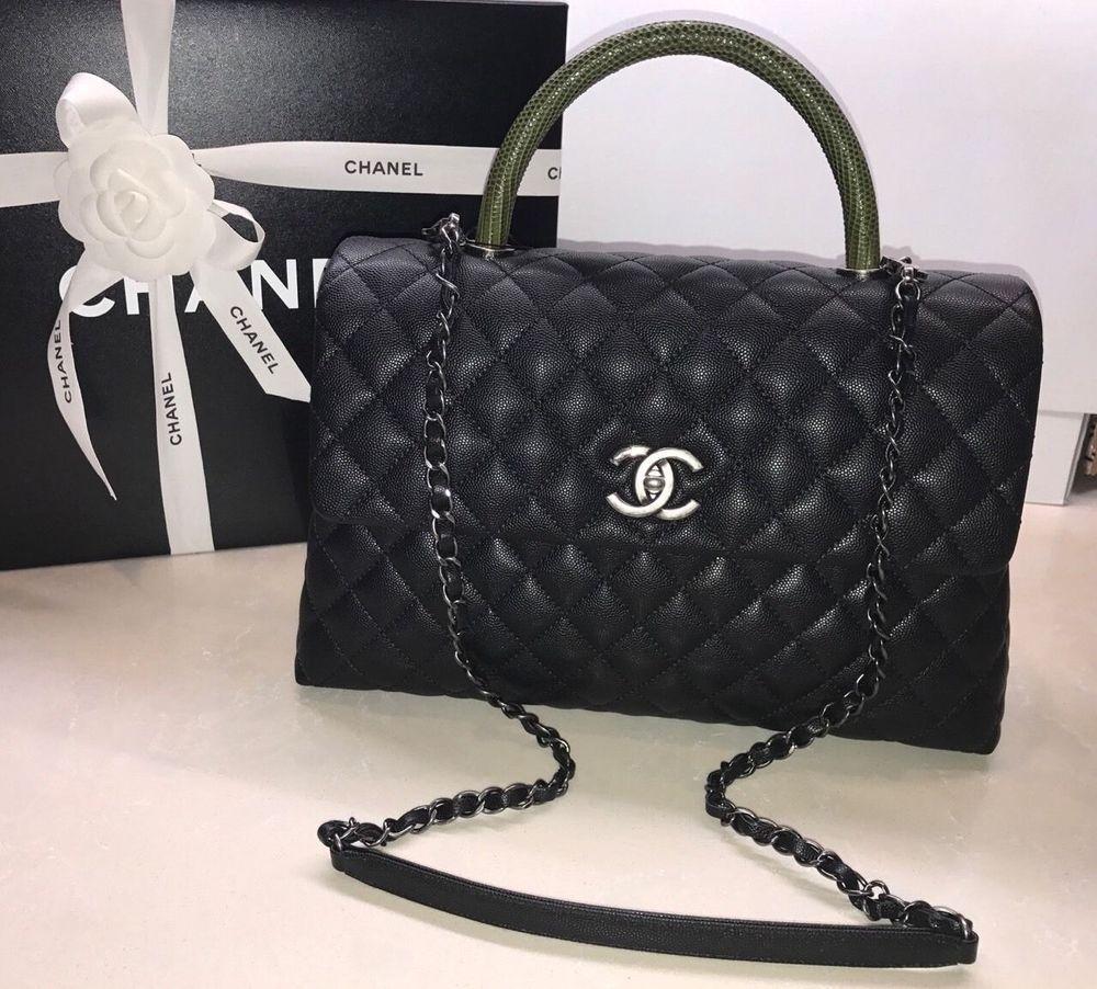 0859871838af New CHANEL 2017 Coco Handle Black Caviar Medium KELLY Flap Khaki Green  Lizard #Chanel #CocoHandelClassicFlapBag