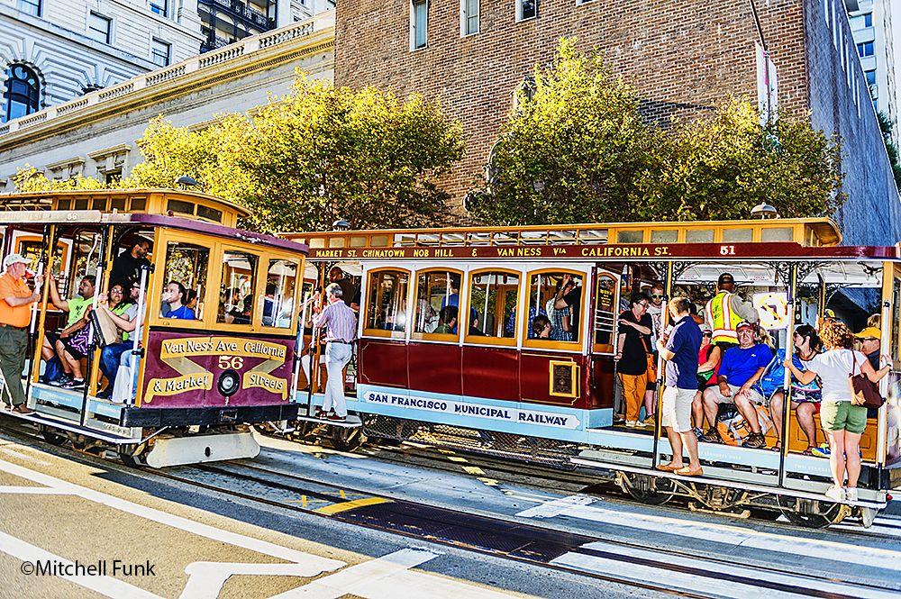 California Street Cable Cars Passing San Francisco Mitchellfunk