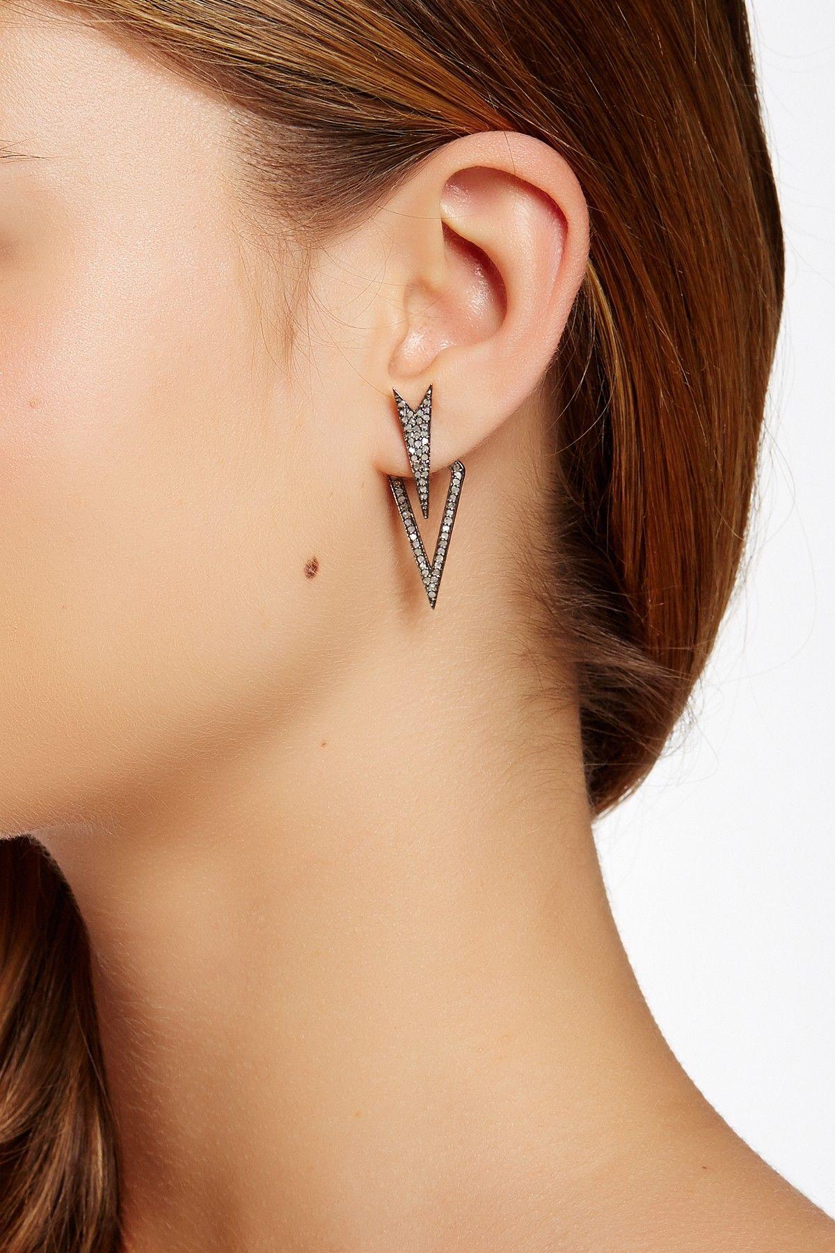 Oxidized Sterling Silver Pave Diamond Double Spike Jacket Earrings - 1.00 ctw on @HauteLook