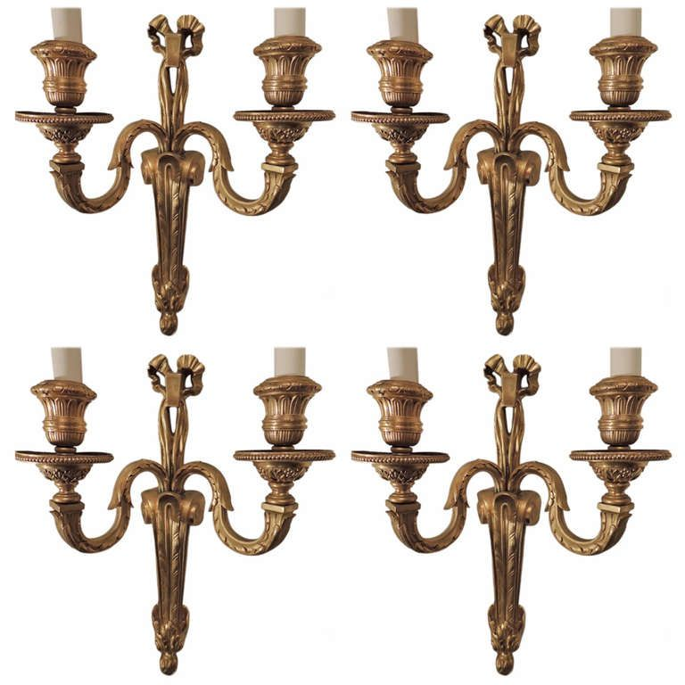 Wonderful set of four french gilt bronze wall sconces in the style set of 4 french dore bronze wall sconces in the style of caldwell from a aloadofball Images