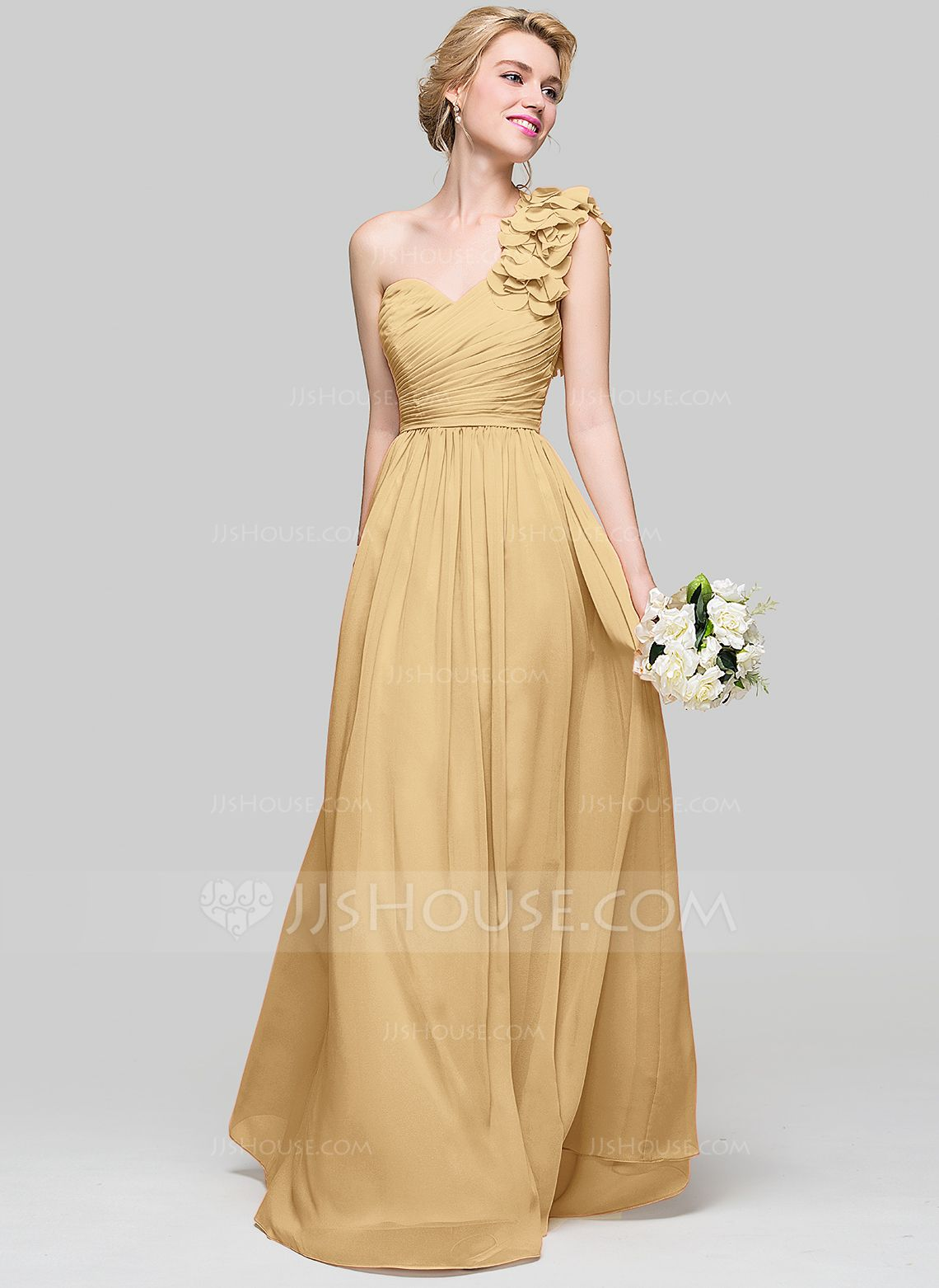 da0de175a6a2 A-Line/Princess One-Shoulder Floor-Length Chiffon Bridesmaid Dress With  Ruffle Flower(s) (007094023) - Bridesmaid Dresses - JJsHouse