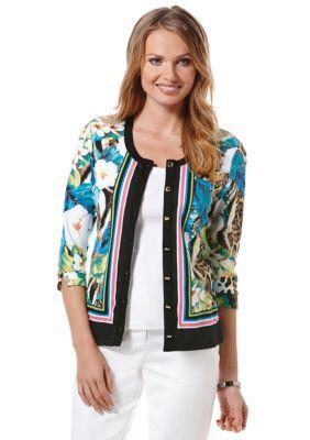 Rafaella  Plus Size Tropic Printed Cardigan