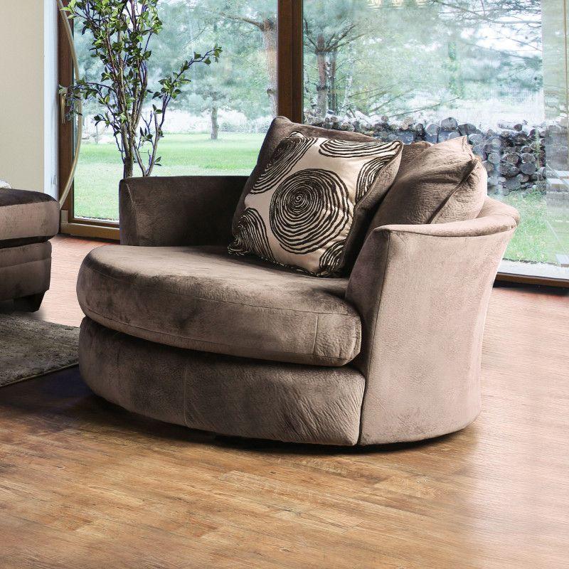 Gentil Furniture Of America SM5142BR CH Bonaventura Brown Plush Microfiber Swivel  Oversized Round Accent Chair
