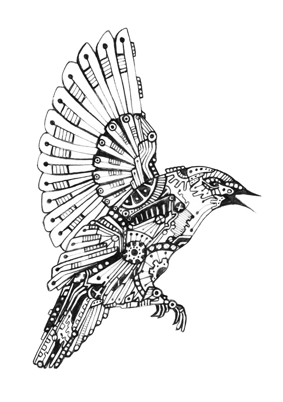 Mechanical Bird 2 Www Kimberlouise Deviantart Com Steampunk Drawing Steampunk Bird Steampunk Tattoo