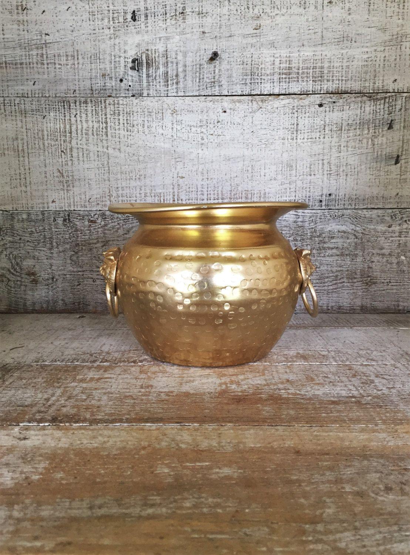 Brass planter vintage gold vase hammered brass planter large gold brass planter vintage gold vase hammered brass planter large gold vase lion head handle planter gold reviewsmspy