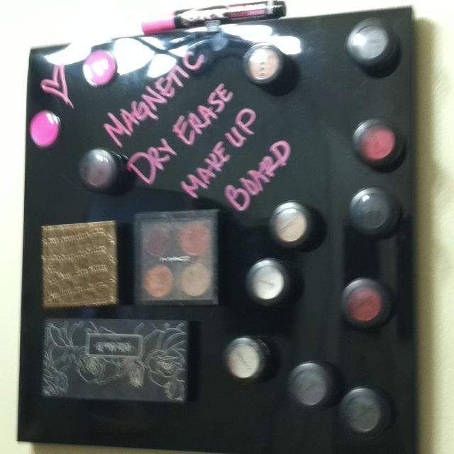 Magnetic Dry Erase Make Up Board. Saw it on Pinterest and made it. Spent about $20. Works amazingly and freed up some counter space.