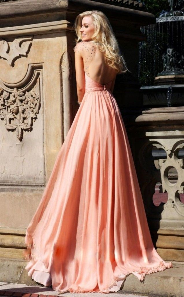 pastel-coral-bridesmaid-dress-with-open-back | Wedding Nice ...
