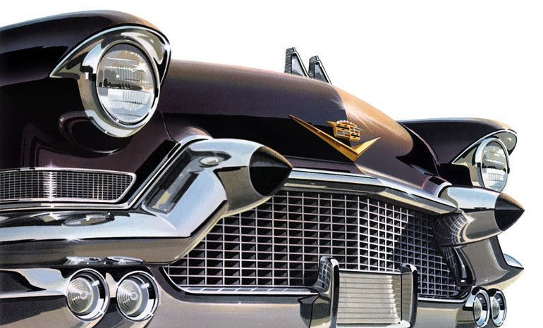 1957 Cadillac. Pointed yet voluptuous. The 1957 Cadillac comes at you with eyes wide open. The iconic circular head lamps and rubber tipped bumper guards front