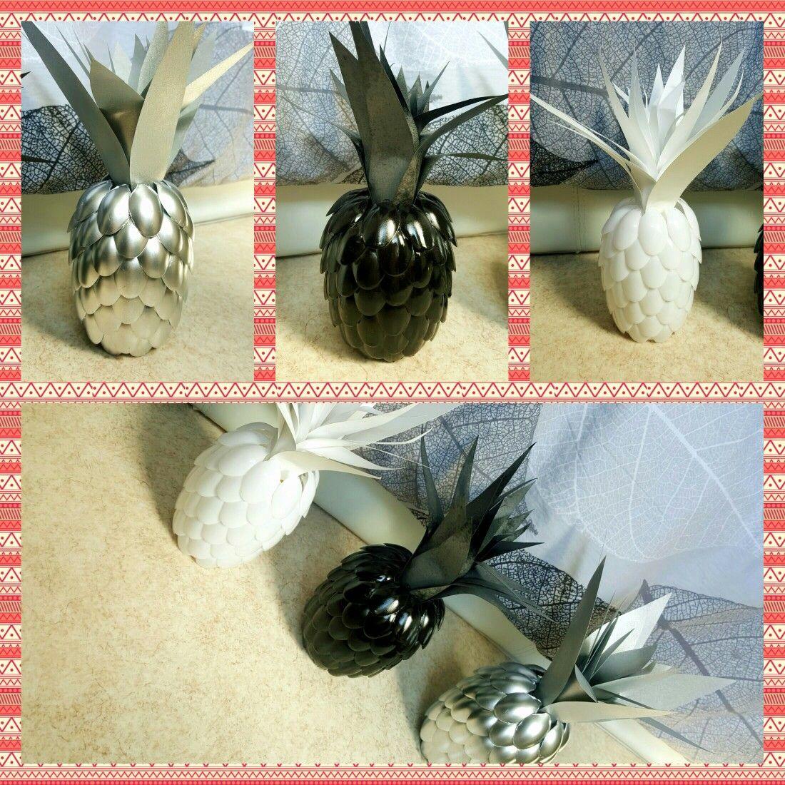#ananas #deco #cuillères #black #white #silver
