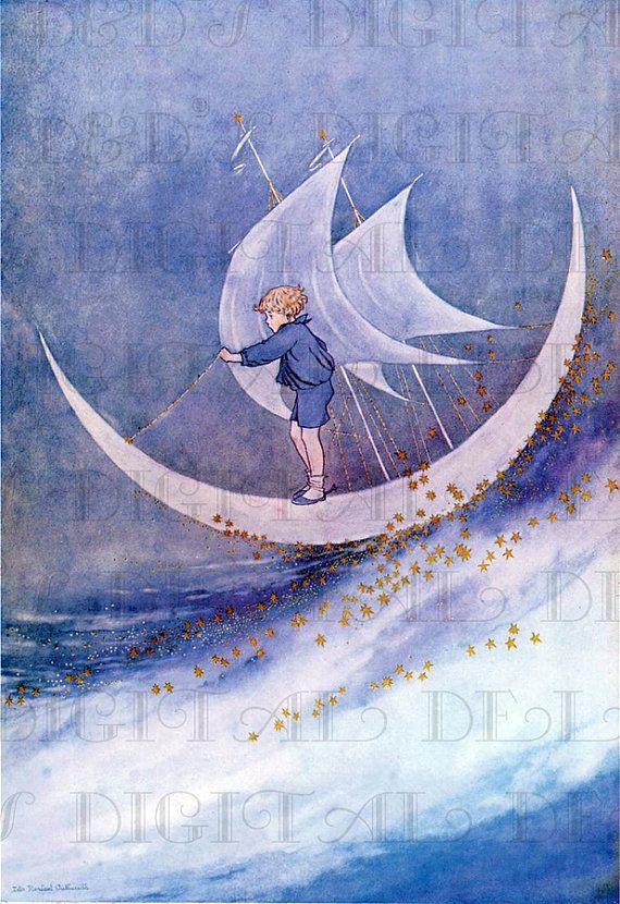 Enchanted Boy Floating On Half Moon In The Bubbly Sea! Fairy Tale Vintage DIGITAL Illustration.  Digital Download. Outhwaite Digital PRINT.