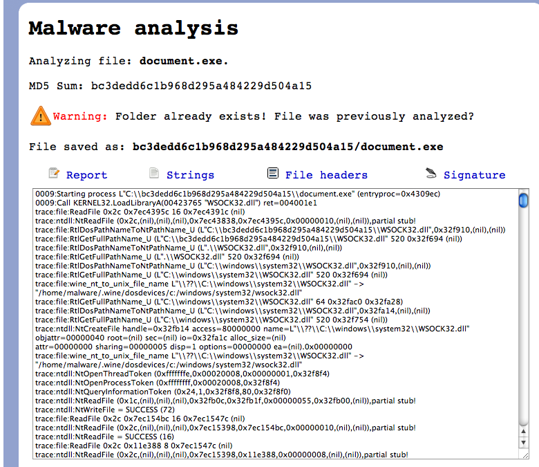 Analyzing Malware Sample In Zerowine  Malware Analysis