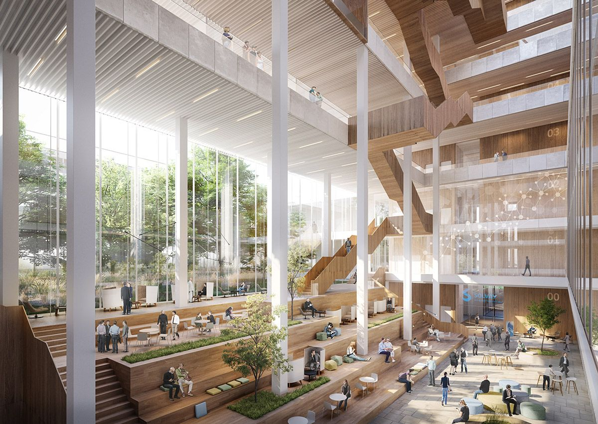 Shl Architects Release Images For Sustainable Headquarters Of Solvay In Brussels With Images Architecture Atrium Design Architecture Visualization
