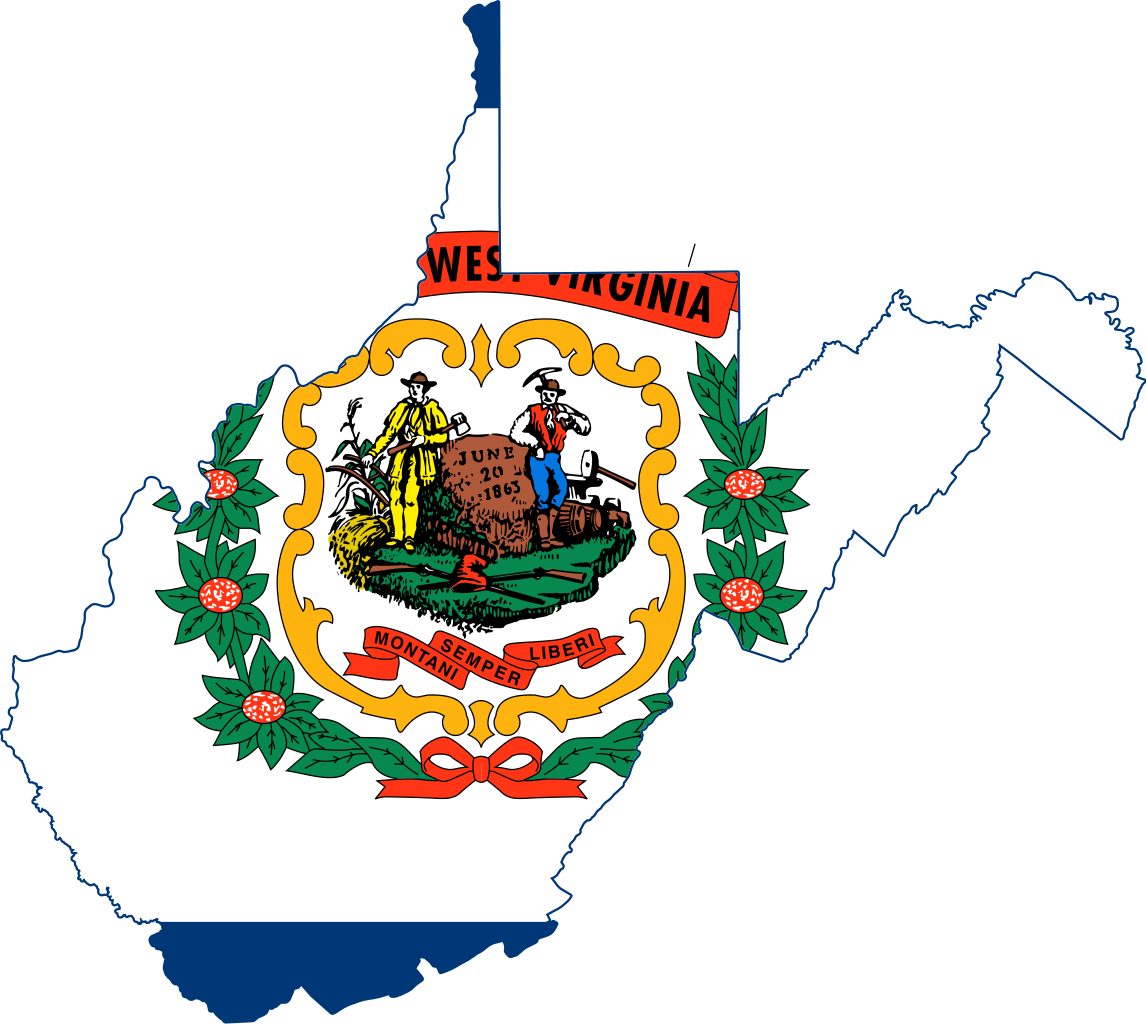Flag Map Of West Virginia