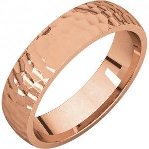 14k Rose Gold 5mm Hammer Finish Comfort Fit Wedding Band - Sarraf.com