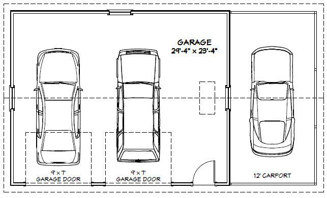 30x24 2 Car Garage 30x24g1m 720 Sq Ft Uitstekende Plannen Van De Vloer How To Plan Garage Dimensions Garage Plans