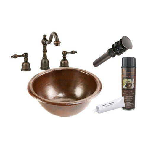 """Photo of Premier Copper Products 14 """"x 14"""" rundes Drop-In-Spülenpaket – Öl eingerieben Bronze LR14RDB"""