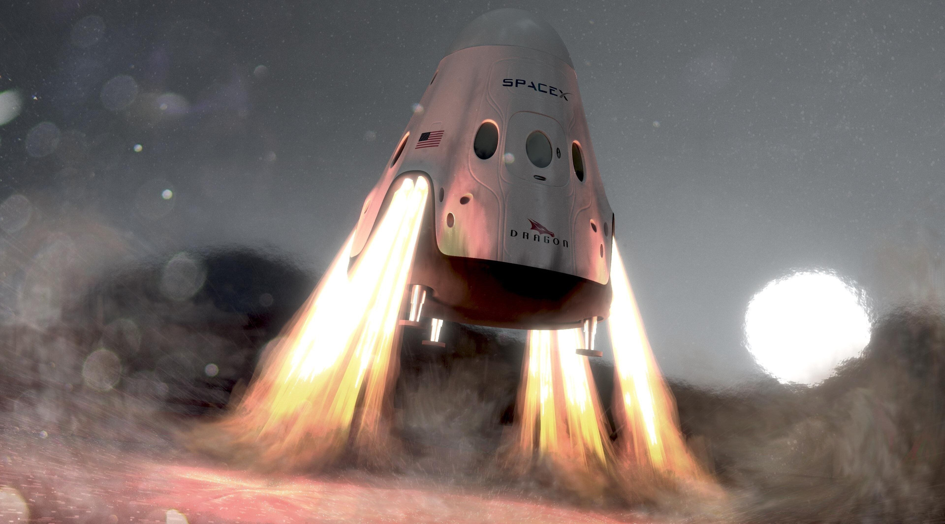 3840x2130 Spacex 4k Wallpaper Computer Spacex Space Shuttle Red Dragon
