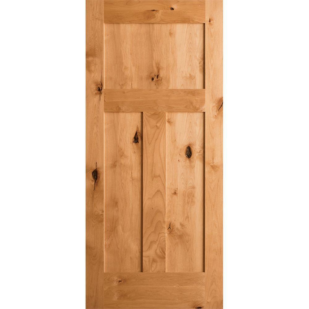 Krosswood Doors 24 In X 80 In Krosswood Craftsman 3 Panel Shaker Solid Wood Core Rustic Knotty Alder Single Prehung Interior Door Kw 325 2068 Lh The Home De Doors Interior Prehung Interior Doors Craftsman