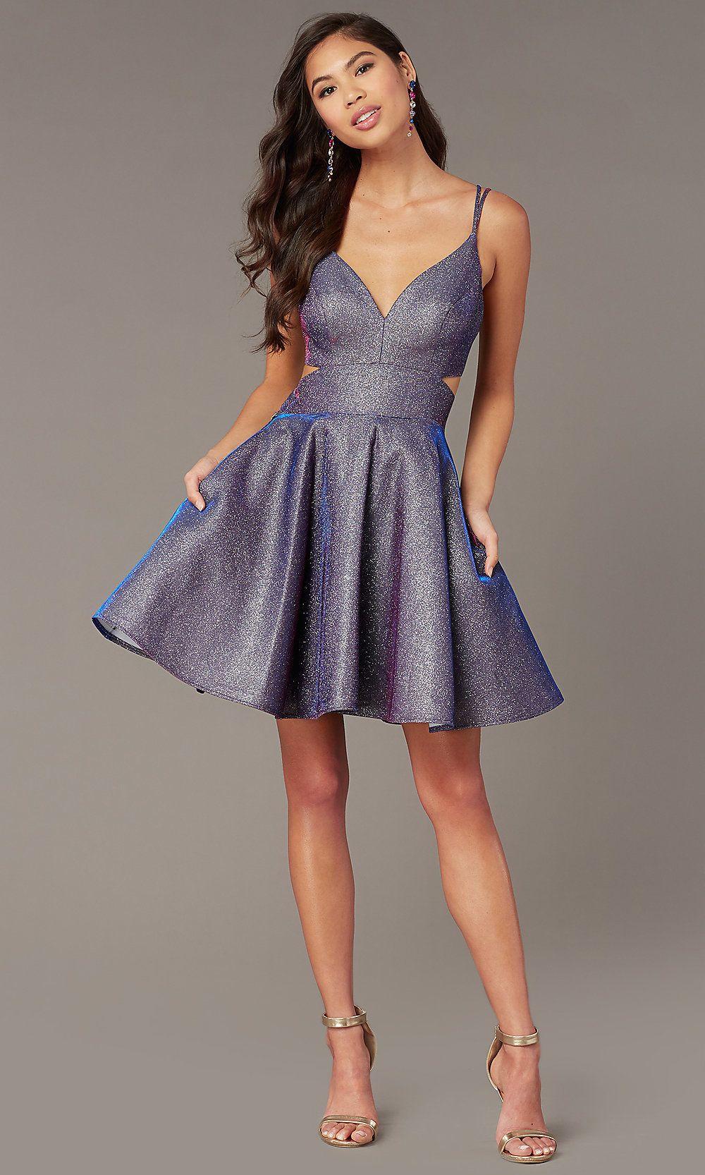 Iridescent Blue Glitter Short Homecoming Dress Prom Dresses Short Glitter Dress Short Sparkly Dress [ 1666 x 1000 Pixel ]
