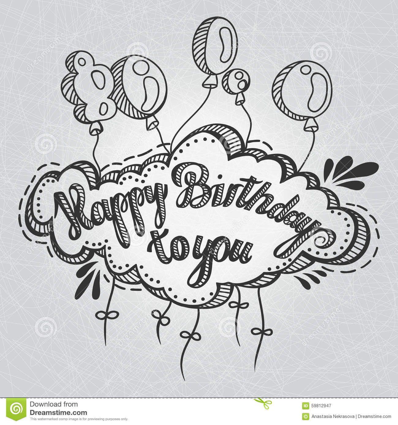 Drawn Birthday 8 Jpg 1 300 1 390 Pixels Happy Birthday Drawings