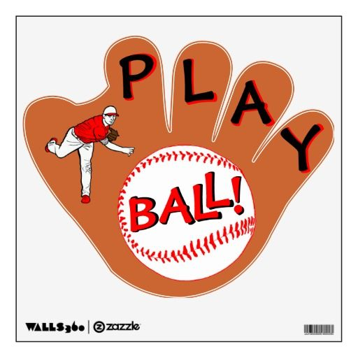 """""""Play Ball"""" Baseball Glove Room Graphics. Decorate any young baseball fan's room with this fun wall decal."""